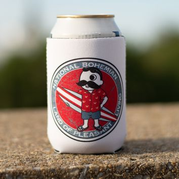 Retro National Bohemian Surfer Dude (White) / Koozie