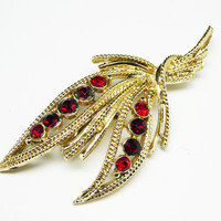 Vintage Red Rhinestone Brooch - Goldtone Leaves - Mid Century Leaf Pin - 1960's - 1970's Jewelry