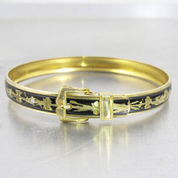 Victorian Buckle Bracelet, Black Enamel Hayward 12K Gold Fill Bangle, Antique Mourning Jewelry, Mourning Bracelet