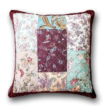 "DaDa Bedding Bohemian Patchwork Burgundy Wine Velvet Floral Euro Pillow Sham Cover, 26"" x 26"""