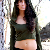 Crop Hooded Top - Elvish Bohemian Princess