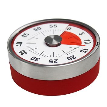 Baldr Mechanical Cooking Alarm Counter Clock Baking Reminder Stainless Steel Manual Countdown Round Shape Magnetic Kitchen Timer