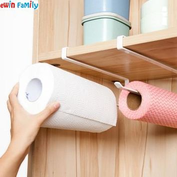 Kitchen Free-Installation Preservative Film Iron Storage Holders Cabinet Cupboard Tissue Hanging Racks Hearth Napkin Organizer