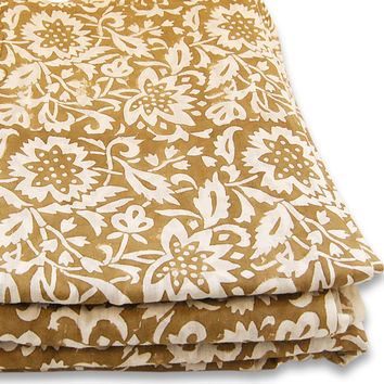 Indian Hand Printed Cotton Fabric Abstract Design Fabric By The Yard Brown dye Pure Cotton Fabric Multi Purpose For Making Shirt/Dress