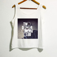 Two Door Cinema Club Shirt White Color Women Tshirt Girl Side Boob Tunic Tank Top