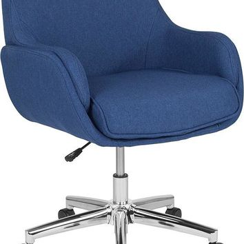 Rochelle Home and Office Upholstered Mid-Back Chair in Blue Fabric [BT-1172-BLU-F-GG]