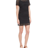 Short-Sleeve Eyelet Tee Dress, Black, Size: