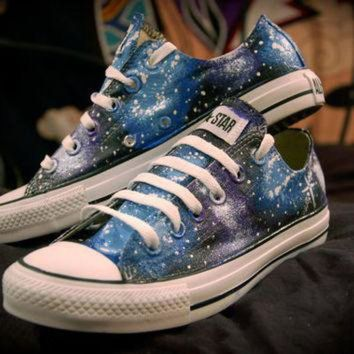 CREYUG7 Blue and Purple Galaxy Shoes Converse