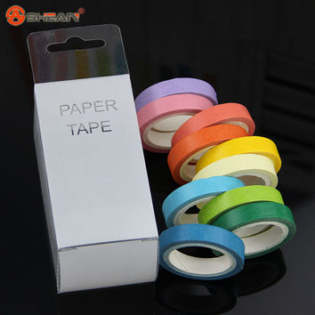 New 10 Pcs Rainbow Roll DIY Washi Sticky Paper Tape Masking Tape Self Adhesive Tape Scrapbooking Decorative Scrapbook Tape Gift