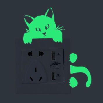 Cat Wall Stickers Light Switch Decor Decals Art Mural Baby Nursery Room Switch Panel Sticker vinilos adhesivos decorativos pared