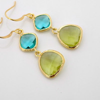 Crystal Earrings, Gold framed Peridot Aqua blue glass crystal drop dangle, holidays gift, delicate everyday jewelry, by balance9