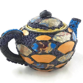 Asian style decorative teapot polymer clay embellished vintage teapot