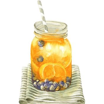 """Infuse Water (Orange and Blueberry)"" - Art Print by Bew Wanchai"