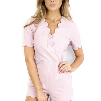 SZ LARGE Crazy With You Mauve Scallop Romper