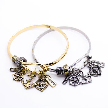 Anchor charm bangle bracelet
