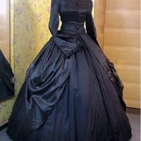 Black High Collar Long Sleeves Gothic Victorian Ball Gowns/Vintage Dress/Steampunk Dress