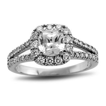 7/8 CT. T.W. Certified Cushion-Cut Diamond Split Shank Engagement Ring in Platinum (H/SI1-SI2) - View All Rings - Zales