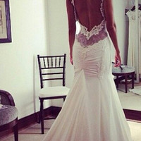 Sexy ivory backless shoulder straps lace applique chiffon wedding dress