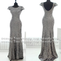 2014 Gray Sequined Prom Dress V Shaped Sequined Bridesmaid Dress Wedding Dress Formal Dress Party Dress