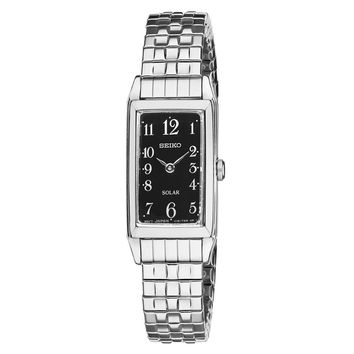 Seiko SUP241 Women's Watch Solar Silver-Tone Expansion Stainless Steel Band