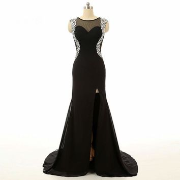 Mermaid Side Split Cap sleeve Beaded Chiffon Sheer back Evening Dresses Black Long Dresses Formal