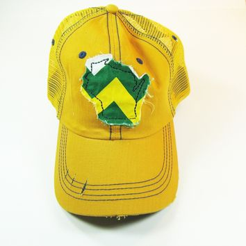 Wisconsin Trucker Hat - Yellow Distressed - Green and Gold Chevron
