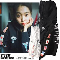 Stussy World Trip Flag plus velvet hoodie sweater M--XXL