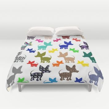 colorful chihuahuas on parade  Duvet Cover by Amy Gale