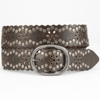 Daisy Perforated Stud Belt Chocolate  In Sizes