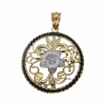 14K WHITE GOLD HAWAIIAN PLUMERIA FLOWER FILIGREE PENDANT BLACK ENAMEL BORDER CZ