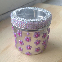 Purple Flower Stash Jar