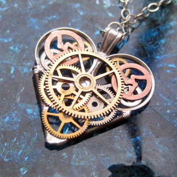 "Mini Watch Heart Necklace ""Invincible"" Elegant Industrial Heart Pendant Steampunk Sculpture Gershenson-Gates Mechanical Mind Fall Autumn"