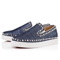Christian Louboutin Cl Pik Boat Woman Flat Denim/silver Lame Lux 18s Sneakers 1180924u172 -