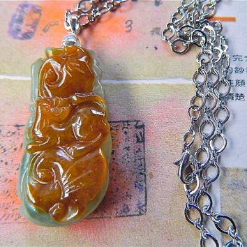 MEN JEWELRY Chinese 2 color jade rat pendant chain necklace