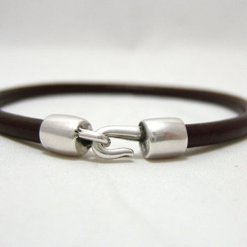 BORDEAUX Round Leather Bracelet with Hook Clasp - Dark Red Genuine 4.5 mm Round Leather Cord - Silver Metal Clasp - custom sizing ~ Unisex