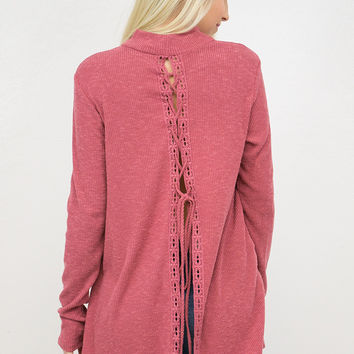 Lace Up Back Ribbed Top