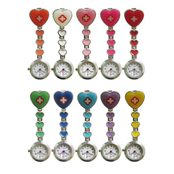 Medical Heart Nurse's Brooch Quartz Watch