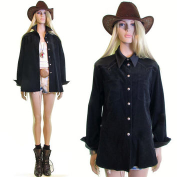 Saddle Up western shirt ultra suede shirt black 80s shirt 90s shirt cowboy shirt button down hipster grunge boho country western dress shirt