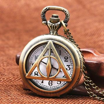 Vintage Bronze Snake Harry Pocket Watch For Men Women Kids Movie Slytherin Hogwarts Potter Necklace With Chain For Unique Gifts