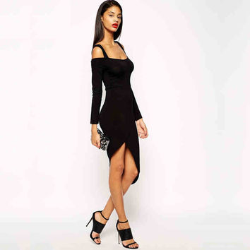 Black Off-Shoulder Strap Asymmetrical Bodycon Dress