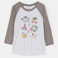 Pusheen The Cat PUSHEENOSAURUS Unisex Raglan T-Shirt NWT Licensed & Official