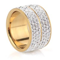 Free shipping New Gold-Color Classic design Crystal Jewelry Wedding Rings For Women Jewelry