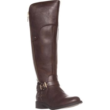 G by Guess Harson Wide Calf Flat Knee-High Boots, Dark Brown, 9 US