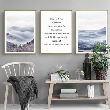 Modern Landscape Life Inspiring Quote Canvas Paintings Nordic Poster Print Wall Art Pictures for Living Rooms Home Office Decor
