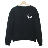 Women Hoodies ET Aliens Sweatshirts harajuku Crew neck Sweats Feminina Loose Cute Fleece Jumper Sweatshirts