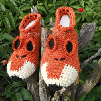 Unisex Adult Chunky Crochet Fox Slippers Women Men Children Teens Funny Silly Winter Sheep Wool Woodland Red Ginger Animals Woodland