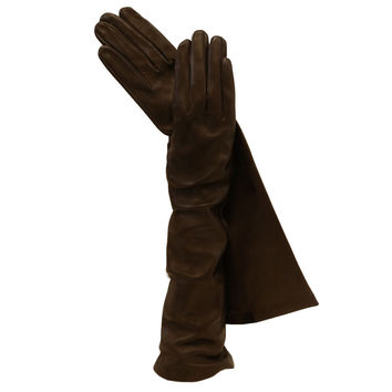 Dark Brown Long Italian Leather Gloves. Elegant Silk-lined 8-button