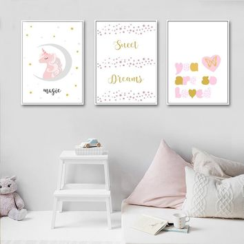 Cartoon Unicorn Heart Wall Art Canvas Painting Nursery Posters and Prints Nordic Kids Decoration Pictures Baby Bedroom Decor