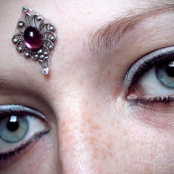 Purple Flame Bindi, skin gem, goddess, bollywood, fae, fairy, magic, wicca, bellydance, third eye, tribal fusion, dance, costume, fantasy