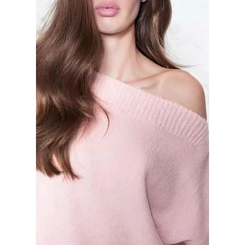FUZZY OFF-THE SHOULDER SWEATER